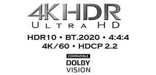 Поддержка видео HDR10, Dolby Vision™, BT.2020, 4K/60 Гц и HDCP 2.2
