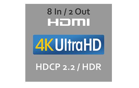 Новейшая версия HDMI® 8 Вх / 2 Вых (включая 1 фронтальный вход)