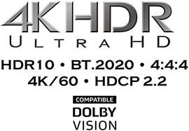 Поддержка видео HDR10, HLG, Dolby Vision™, BT.2020, 4K/60 Hz, и HDCP 2.2